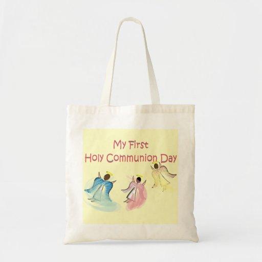 Meu primeiro dia do comunhão santamente bolsas