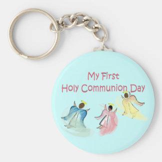 Meu primeiro dia do comunhão santamente chaveiro