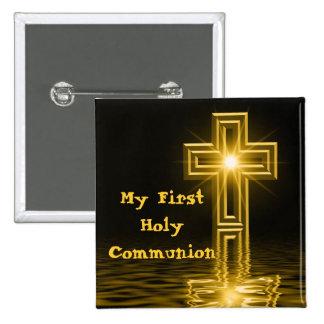 Meu primeiro Pin do botão do comunhão santamente Bóton Quadrado 5.08cm