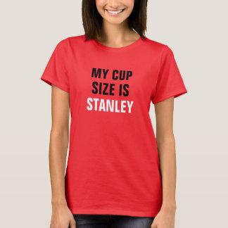 Meu tamanho do copo é preto e branco vermelho de camiseta