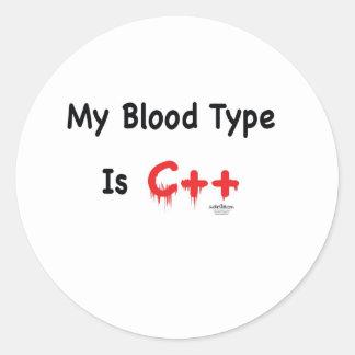 Meu tipo de sangue é c++ adesivo