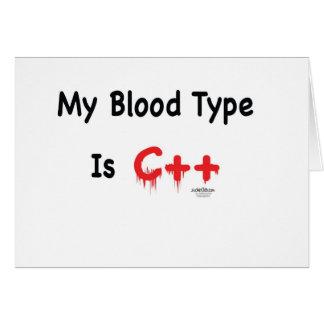 Meu tipo de sangue é c++ cartão comemorativo