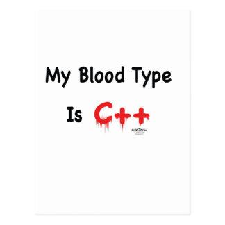Meu tipo de sangue é c++ cartão postal