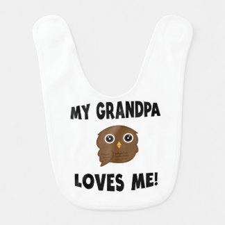 Meu vovô ama-me coruja de Brown Babadores Para Bebes