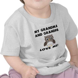 Meus avó e vovô amam-me coruja t-shirt