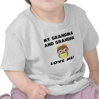 Meus avó e vovô amam-me coruja camiseta