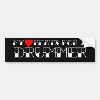 Meus batimentos cardíacos para um baterista adesivo para carro
