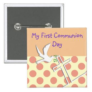 Meus primeiros botões do comunhão santamente bóton quadrado 5.08cm
