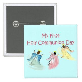 Meus primeiros presentes do dia do comunhão santam bóton quadrado 5.08cm