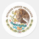 México - selo dos mexicanos dos unidos dos estados adesivo em formato redondo