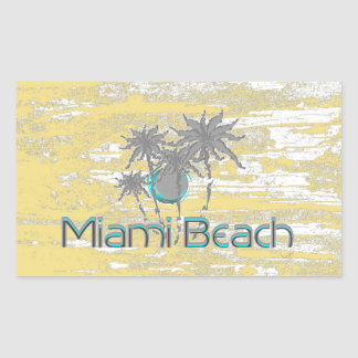 Miami Beach, Florida, palmas, Grunge legal Adesivo Retangular