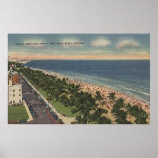 Miami FL - movimentação do oceano e parque de Lum Posters