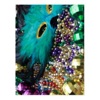 Miçanga do carnaval & cartão verde da máscara da cartão postal