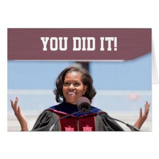 Michelle Obama - cartão YDI da graduação