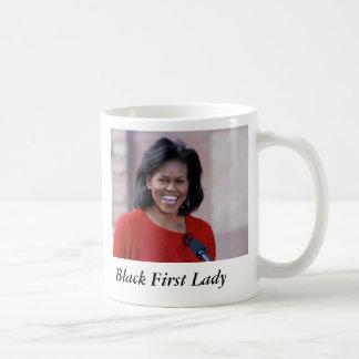 Michelle obama, primeira senhora do preto caneca de café