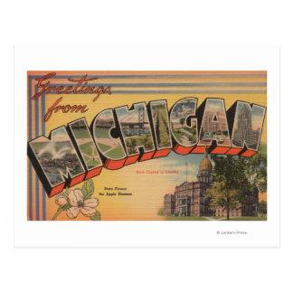 Michigan (capital de estado/flor) cartão postal