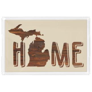 Michigan é o olhar | de madeira Home | Michigan da Bandeja De Acrílico