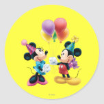 Mickey Mouse & aniversário de Minnie Adesivo Em Formato Redondo