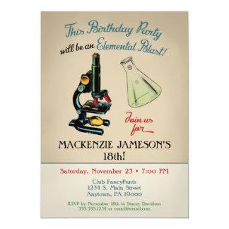 Microscópio do convite do aniversário da ciência