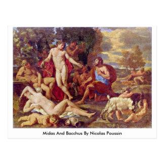 Midas e Baco por Nicolas Poussin Cartão Postal