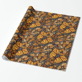 Migração da borboleta de monarca papel de presente