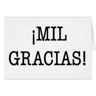 ¡ MIL. GRACIAS! - Obrigado cartão no espanhol