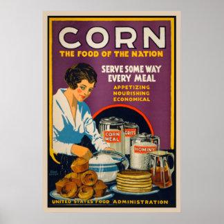 Milho - comida do poster vintage da nação