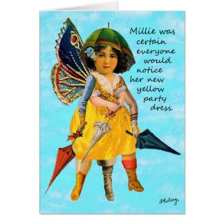 Millie e seu cartão do vestido de partido