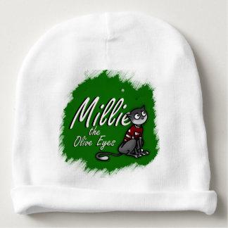 Millie os olhos da azeitona, chapéu branco 1 do gorro para bebê