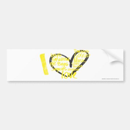 Mim amarelo dos grafites do coração adesivos