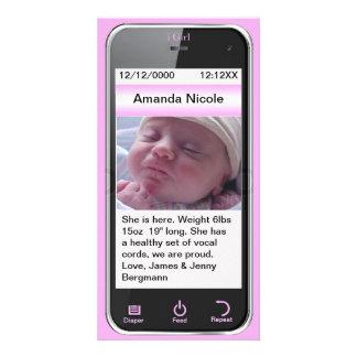 mim anúncio do nascimento do telemóvel da menina cartão com foto