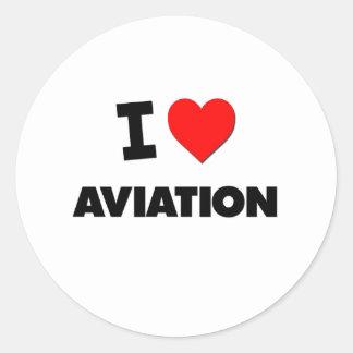 Mim aviação do coração adesivo redondo