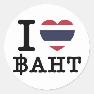 Mim baht do coração (amor) adesivo redondo