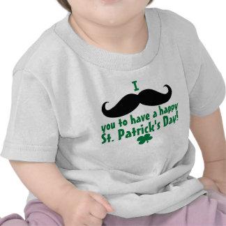 Mim bebê do dia de St Patrick feliz do bigode você Tshirts