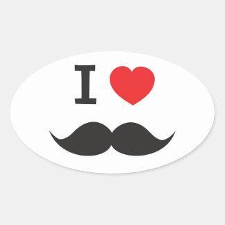 Mim bigode do coração adesivo oval