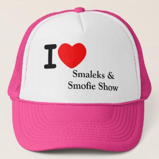 Mim boné da mostra de Smaleks Og Smofie do coração
