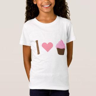 Mim camisa cor-de-rosa dos cupcakes do coração