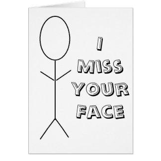 Mim cartão de cara da senhorita Seu