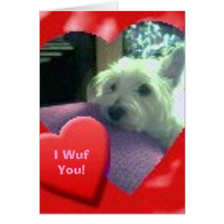 Mim cartão de Westie do dia de namorados de Wuf vo