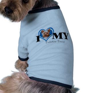 Mim casaco do Terrier-Azul-Cão de Yorkshire do cor Camisa Ringer Para Cachorro