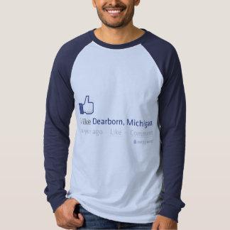 """Mim """"como"""" o T do LS do Raglan de Dearborn Camisetas"""