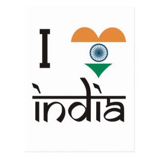 """Mim """"coração"""" India - amor India de I Cartão Postal"""