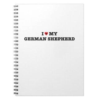 Mim coração meu caderno espiral do german shepherd
