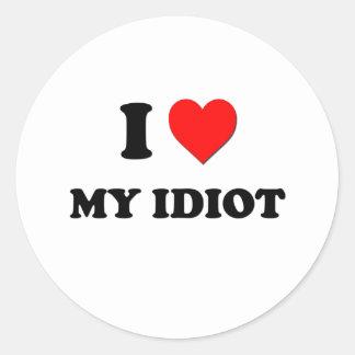 Mim coração meu idiota adesivos redondos