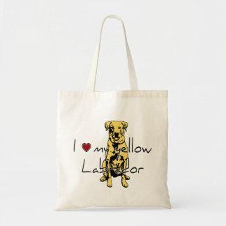 """Mim """"coração"""" meu Labrador amarelo com gráfico Bolsas Para Compras"""