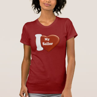 Mim coração meu marinheiro (forma do coração) t-shirt