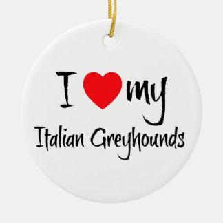 Mim coração meus cães do galgo italiano ornamento de cerâmica redondo