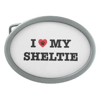 Mim coração minha fivela de cinto de Sheltie