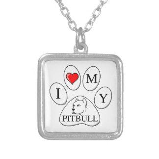 Mim coração minha pata do pitbull - cão, animal de colar banhado a prata
