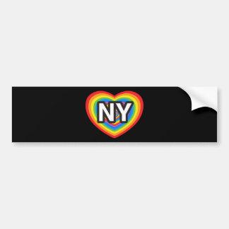 Mim coração New York. Eu amo New York. Arco-íris d Adesivo Para Carro